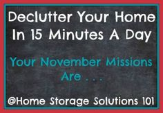 free printable November 2014 decluttering calendar with daily 15-minute missions