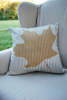 DIY Ticking Stripe Pillow with Maple Leaf