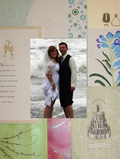Rather than stashing them in a box, turn your favorite holiday cards into a beautiful mat to surround your wedding photo. #DIY