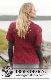 """Sweter rozpinany DROPS z warkoczami, ściągaczem i krótkim rękawem, 2 nitkami włóczki """"Kid-Silk"""". Od S do XXXL. ~ DROPS Design"""