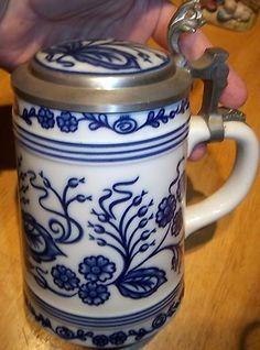 VINTAGE! Blue Onion Rastal Beer Stein w/ Pewter Lid