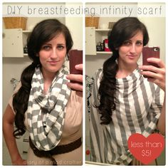 "Infinity Nursing Scarf. Making this ASAP! Way better than the bold patterned cover/apron that screams ""I'm BREASTFEEDING!!!"""