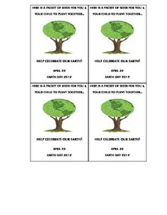 Earth Day Cards for Seed Packets freebie