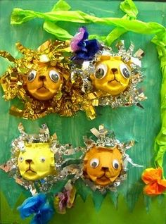 craft, carton lion, egg cartons