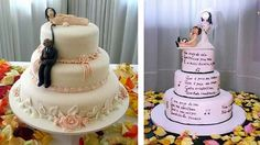 These wedding cake (toppers) are very interesting.