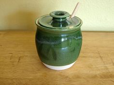 Green with Blue Accent Honey Jar by FutureRelicsGallery on Etsy, $38.00