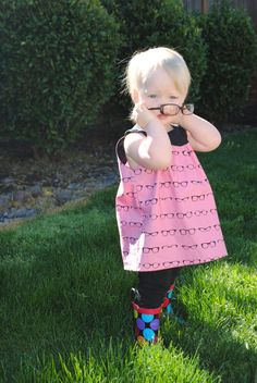 Girls Glasses Dress, Round Collar, A Line, Sleeveless, Tunic, Geek, Pink, Geeky Chic Fabric by Riley Blake, Hipster, Size 12-18 Months to 6