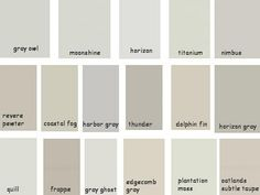 Benjamin Moore - Gray Owl, Horizon, Titanium, Moonshine, Revere Pewter, Coastal Fog, Edgecomb Gray, Harbor Gray, Horizon Gray, Nimbus; by frankie