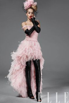 Rita Ora for Elle US May 2013 / Chanel pink ruffle tulle Couture gown