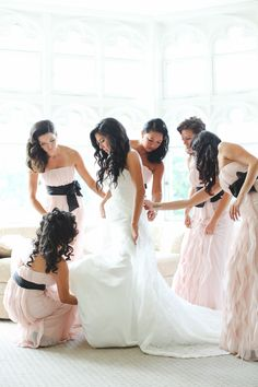 Bridesmaids in blush and black. Seriously stunning.