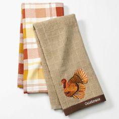 Croft and Barrow 2-pk. Embroidered Turkey Windowpane Kitchen Towel Set