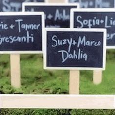 chalk board tags, cards for pricing on tables