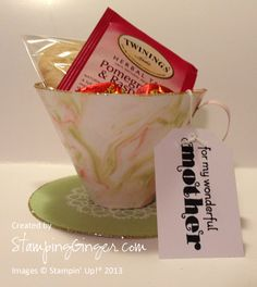 "This is a ""tea-riffic"" little gift to make for mom, teacher, friend, or a get well wish. Using the shaving cream technique gives this little cup the perfect look. http://www.stampingginger.com"