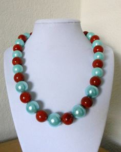 Bold and Chunky/Genuine Coral and Genuine shell pearls necklace on Etsy, $19.97