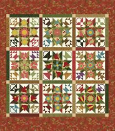 Basket Bounty quilt BOM from the Quilting-Warehouse.  Appliques patterns are so nice that they could be used without the star backgrounds.