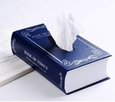 Book-Style Tissue Box, make from your favorite spine from used book store.