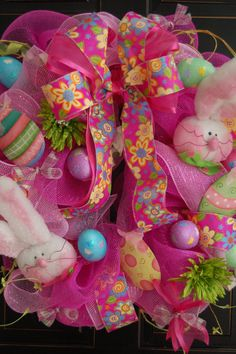 Happy Easter Bunny Wreath Deco Mesh by MaddysonsLane on Etsy, $115.00