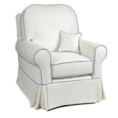 Basket White Slipcovered Buckingham Glider
