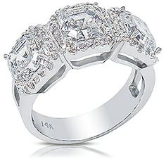Avalon Three Stone Asscher Halo Designer CZ Ring, 4.05 Carats TW... Avalon is a sublime design, featuring three 1.25 carat each Asscher stones with a stunning halo platform setting. A perfect cocktail or right-hand ring! 14K white or yellow gold, model: 2998A1.25