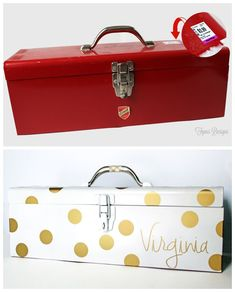 Old tool box turned into practical storage- Such a cute gift idea!!!