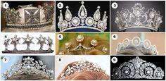 1. The George IV State Diadem, from Britain 2. The Rosebery Tiara, formerly in the collection of the Westminsters but recently sold 3. Queen Margherita's Musy Tiara, from Italy 4. The Mountbatten Star Tiara, from the Mountbatten family 5. The Pearl Button Tiara, from the Netherlands 6. Princess Birgitta of Sweden's Pearl and Diamond Tiara, now worn by her daughter 7. The Antique Corsage Tiara, from Greece 8. The Ogilvy Tiara, from Britain 9. The Cartier Diamond and Pearl Tiara, from Spain