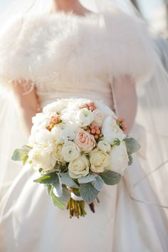 peach and Gray bridal wedding bouquet