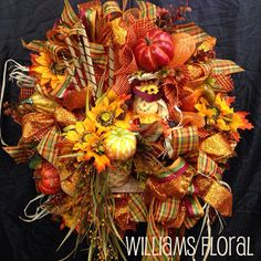 Premium Fall Mesh Wreath f3 by WilliamsFloral on Etsy, $129.00