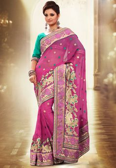 #Pink Faux Chiffon #Saree with Blouse