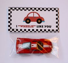 Instant Download- Boy Car Valentine Bag Topper- I Wheelie Like You- Happy Valentine's Day-DIY Printable-You fill in the name on Etsy, $4.00