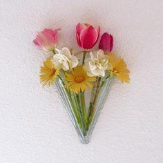 Handmade Recycled Glass Wall Pocket Vase, Cornucopia by SteiderStudios, $27.00 USD