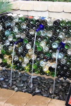 Wine wall fountain. wine bottle crafts, river rocks, bottl fountain, wine wall, fountains ideas, water fountains, wine bottles, garden water features, wine bottle water fountain