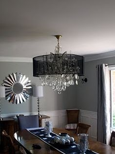 DIY Chandelier lamp shade, from campaign signs.