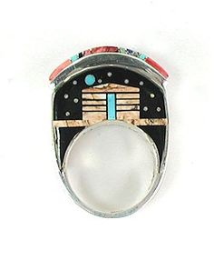 Navajo 3-Sided inlay Ring by Merle House Jr.