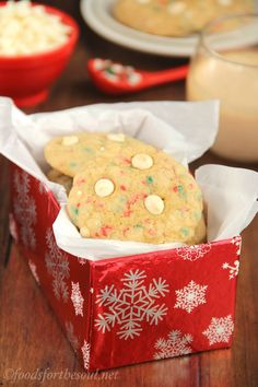 White Chocolate Funfetti Christmas Cookies -- so soft & chewy. You'd never guess it from their rich buttery flavor, but they're secretly ski...