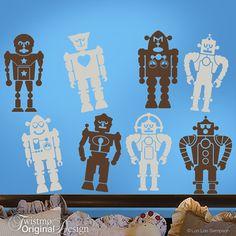 Eight Robots Vinyl Wall Decals: Goofy Robot Wall Art for Kids Room Decor