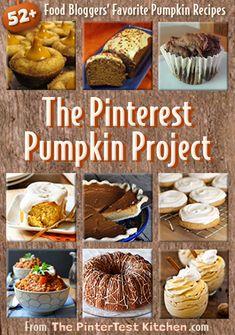 The Pinterest Pumpkin Project: 52+ Top Food Bloggers Share Their Favorite Pumpkin Recipes @Allison j.d.m Boyer [The PinterTest Kitchen]
