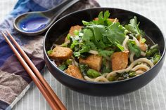 Udon Noodle Soup with Chinese Broccoli & Seared Tempeh