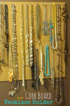 Cork Tile Board Necklace Holder