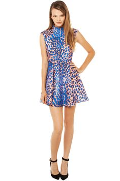 Leopard is ALWAYS a good styling decision! Cameo Night Sky Dress in Cobalt Leopard - Get your's now at ShopAKIRA.com!