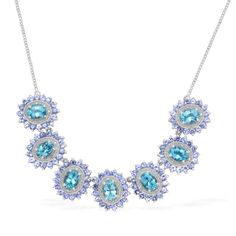 Liquidation Channel | Paraiba Apatite, Tanzanite, and Diamond Necklace (18 in) in Platinum Overlay Sterling Silver (Nickel Free)