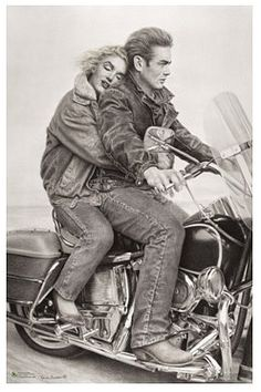 MOTORCYCLE    Marilyn Monroe and James Dean