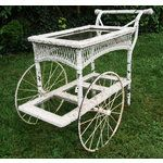 ANTIQUE WICKER GARDEN PARTY TEA CART