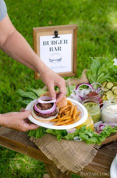 LOVE THIS! Burger Bar Ideas for Your Next Party - toppings ideas, and free printable sign for food bar! #sponsored #burger #burgerbar #backyardbbq @mychinet