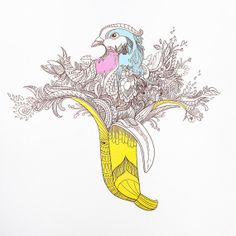Me & Tinut is Yellow banana #Banana Pigeon Art Print