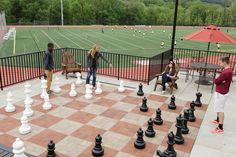 Love #chess? Grab some friends and play a game on the life-size board overlooking #Alvernia's turf and track. The patio also allows you to grab a seat under one of the umbrellas and cheer on our #Crusaders!