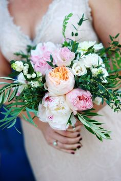 Peony and Garden Rose bouquet   Photography: AshleyGarmonPhoto.com   Floral Design: BlackbirdFloral.com See the wedding on SMP, here: http://www.stylemepretty.com/2014/05/28/le-san-michele-garden-wedding/
