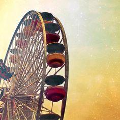BOGO SALE, Ferris wheel photograph, Cyber Monday Etsy art, Santa Monica Pacific Wheel, California print 8x8. $30.00, via Etsy.