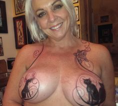 Check out Karen's kitties. Wildly unique mastectomy tattoo by Friday Jones on #pinktattooday Boulder on 10/10/2014.  P.ink Day is an all-volunteer effort in 12 North American cities to connect tattoo artists and breast cancer survivors for a day of healing with tattoos. #pinktattooday [p-ink.org]
