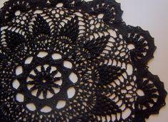 Black Crocheted Doily Rug