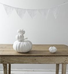 Simple Painted White Pumpkin and farm table - eclectic - spaces - C.W. Styling